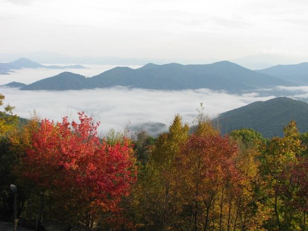 The Burnsville, NC valley under the fog.  Taken by Daniel Manget